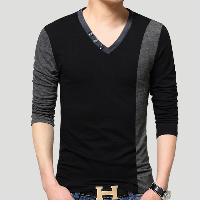 2016 Men's V Neck Long Sleeve T-Shirt Korean Fashion Cotton Slim Fitted T Shirt Casual Tops & Tees Plus Size 4XL 5XL
