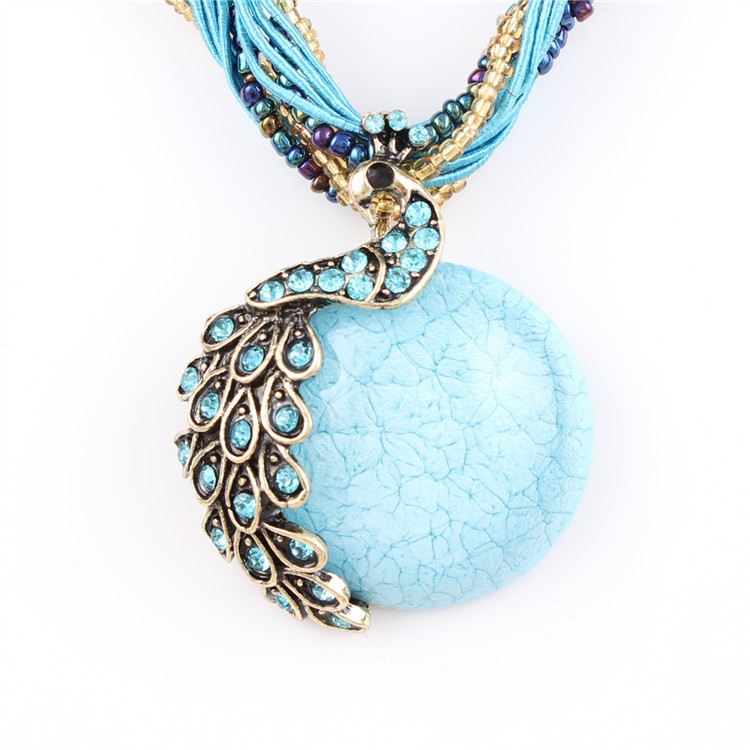 ZOSHI Blue natural crystal stone pendant necklace fashion peacock pendant necklace for women jewelry 17