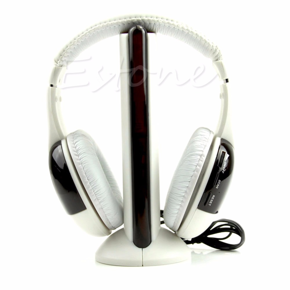 1Pc New 5 in 1 Hi-Fi Wireless Headset Headphone Earphone for TV DVD MP3 PC 2017 brand new multifunction 5 in 1 cordless headphone fm wireless headset earphone for mp4 mp3 pc tv ipod auriculares mikrafon
