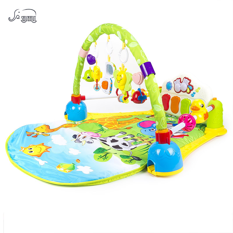 Baby Play Mat Crawling Toys SHUNHUI Infant Fitness Rack Carpet with Musical Keyboard Gym Rug Pad Develop Toy for Children