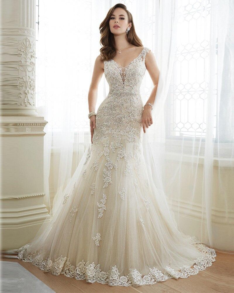 Vestidos de Noiva 2016 Open Back Mermaid Wedding Dresses Sexy Lace Bride Dresses Vintage Lace Vestido de noiva Sereia