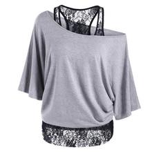 New Tops Fashion Women Summer Solid T-shirt Loose Plus Half Sleeve Slash Neck Casual Shirt Free Shipping
