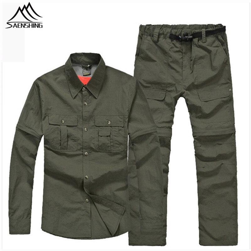SAENSHING fishing shirt Sets men quick dry summer removable sleeve and pants Military Tactical t shirt