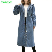 Women Windbreaker Coat Spring Autumn New Loose Hooded Trench Coats Womens Korean Plus size Casual Cowboy Outerwear Tide 5XL A409