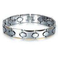 High Quality Fashion Jewelry Titanium Steel Energy Bangle Neodymium Magnetic Balance Bracelet Negative Ion Hologram Wristband