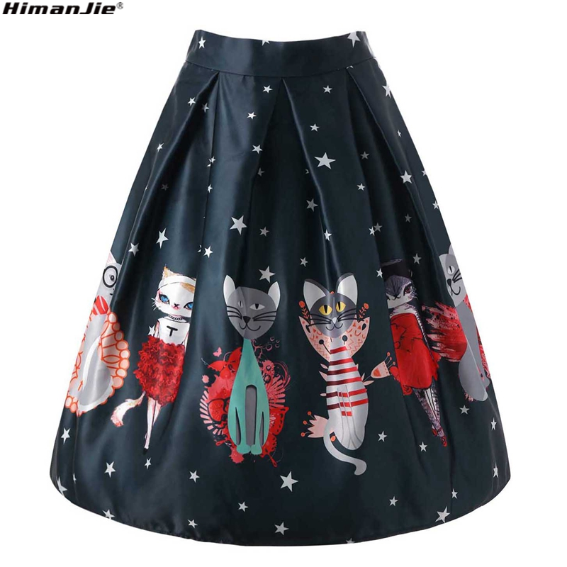 cute cat&star print skirt vintage Midi Skirts Ball Gown Knee-Length empire Skirt Zipper for party vocation women clothes