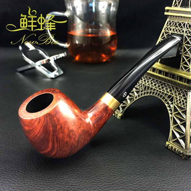 NewBee 10 Tools Kit Handmade Briar Wood Tobacco Pipe Wood Little Bent Smoking Pipe Metal Ring
