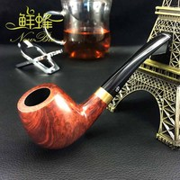 NewBee Handmade Briar Wood Refined Wood Grain Limited Little Bent Smoking Pipe Renowned Pipe Maker Tobacco
