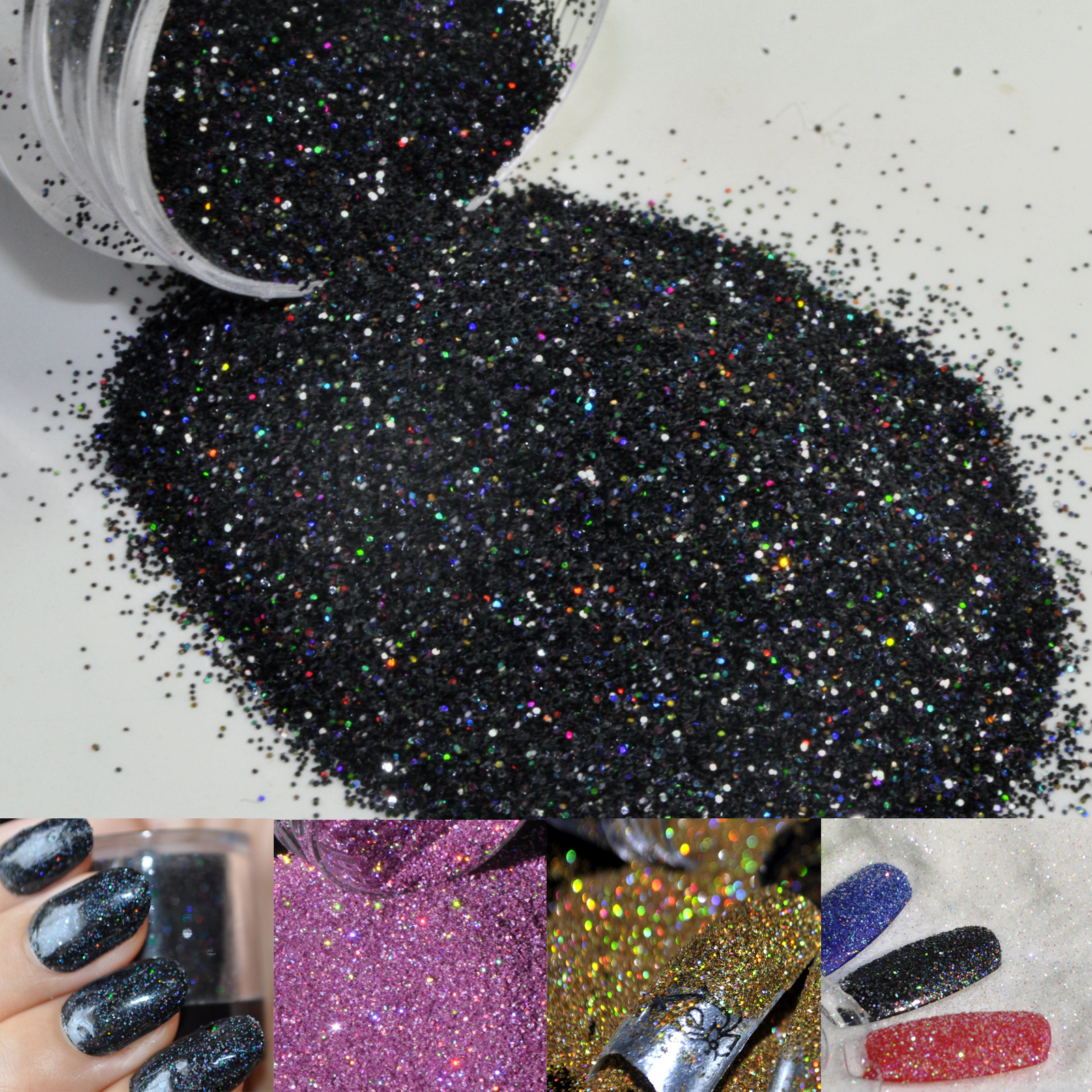 black holographic glitter powder dust nail art makeup