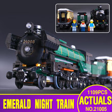 LEPIN 21005 1085pcs Technic Series Emerald Night Train Model Building Kit Minifigures Blocks Bricks Toys 10194 Christmas Gift