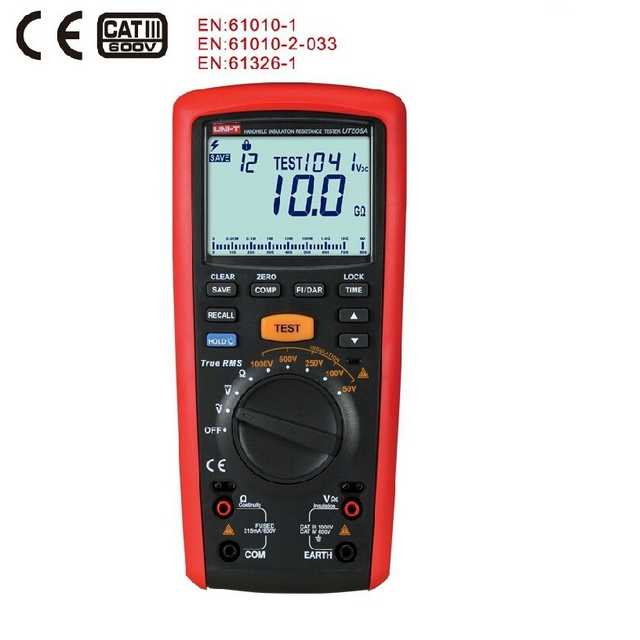 Medidor Digital portátil de 1000V, valores eficaces auténticos, medidor de resistencia de aislamiento, multímetro, Ohm, voltímetro, UNI T, UT505A