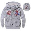 Novo 2016 Spiderman Homem Aranha Hoodies Zipper Jacket Roupas Crianças Dos Desenhos Animados Roupa do bebé Crianças Manga Longa meninos Da Criança