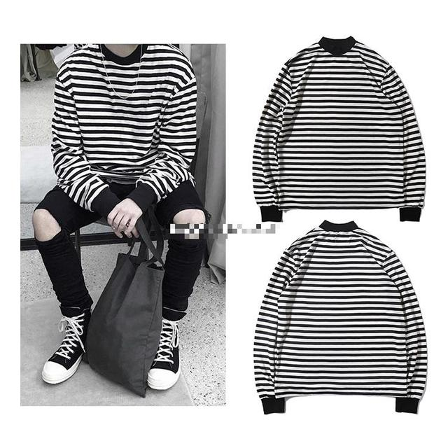 23db2932b6 2017 summer Best version fear of god FOG black white Striped Mock Neck LS  oversize men Long Sleeve tee streetwear t-shirt