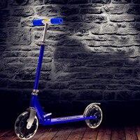 2 колеса самоката для взрослых детей складной Портативный для верховой езды Велосипедный Спорт Алюминий высота регулируемая нагрузка 100 кг