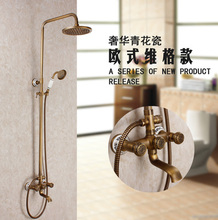 купить Antique Brass Wall Mounted Dual Cross Handles Bathroom Rain Shower Faucet Set +Handheld Shower / Tub Mixer Tap дешево