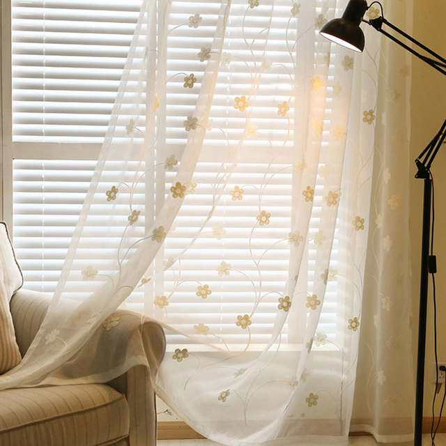Short Kitchen Curtains For Living Room Floral Linen Window Fabric Curtains  Blinds Voile Door Drapes Tulle
