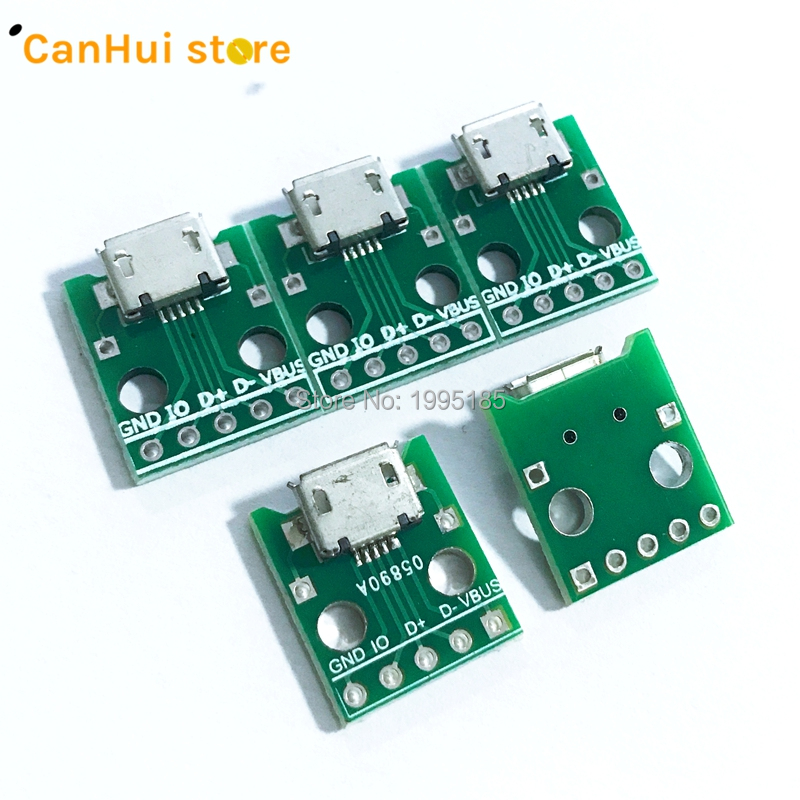 10pcs MICRO USB To DIP Adapter 5pin Female Connector B Type PCB Converter Breadboard USB-01 Switch Board SMT Mother Seat