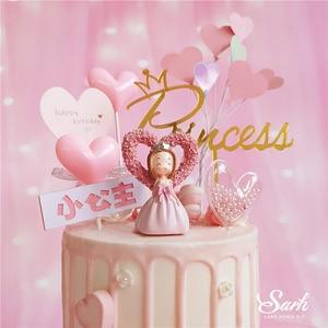Image 4 - ורוד קשת לב נסיכת קישוט כסף כתר יום הולדת שמח עוגת טופר לילדים של יום מסיבת אספקת חתונה יפה מתנה