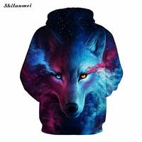 2017 New Fashion Men Women 3D Sweatshirts Print War Wolf Hoodies Autumn Winter Harajuku Long Sleeve Couple Hooded Pullovers Tops
