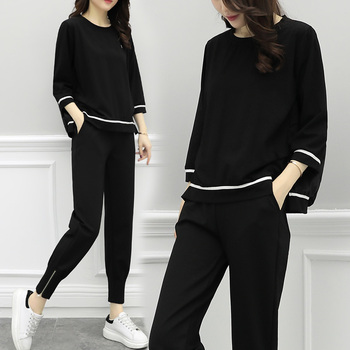 Large Big Size Autumn Leisure 2 Piece Set Women Loose Batwing Sleeve Year-old Female Costume Tracksuit Women Conjunto Feminino