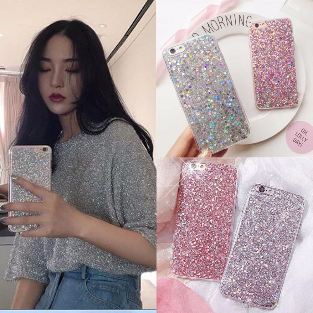 Fashion Bling Shining Powder Sequins Phone Case For iPhone 7 6S 8 Plus Soft Silicone Glitter Back Cover For iPhone X 6 S 5 5S SE