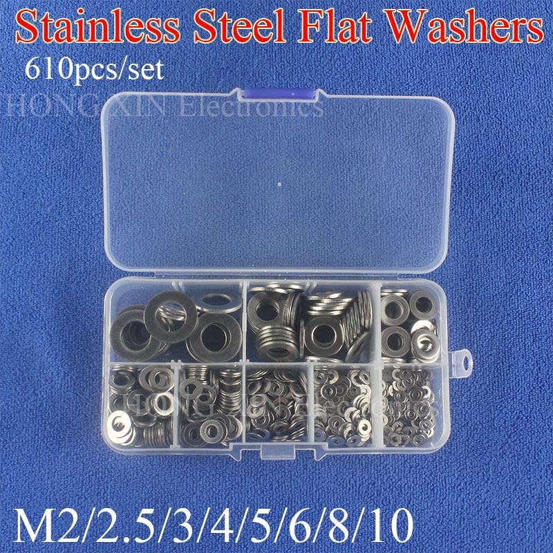 M2 M2.5 M3 M4 M5 M6 M8 M10 Stainless Steel Washers Flat Washer Assortment Kit Machine Washer Plain Washer GasketsM2 M2.5 M3 M4 M5 M6 M8 M10 Stainless Steel Washers Flat Washer Assortment Kit Machine Washer Plain Washer Gaskets