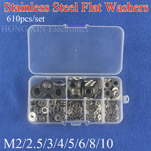 цена на M2 M2.5 M3 M4 M5 M6 M8 M10 Stainless Steel Washers Flat Washer Assortment Kit Machine Washer Plain Washer Gaskets