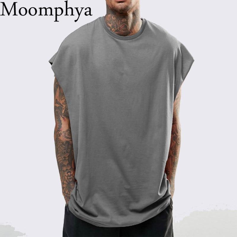 Moomphya Drop Shoulder Tank Top Men Streetwear Hip Hop Men Vest Sleeveless Funny Men Loose Style Tee Shirt Men Oversize