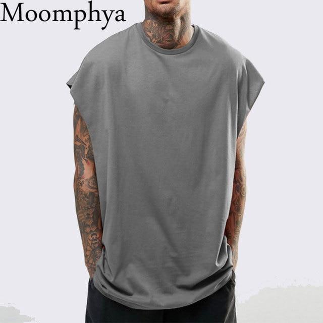 Moomphya זרוק כתף גופייה גברים Streetwear היפ הופ גברים אפוד שרוולים מצחיק גברים Loose סגנון טי חולצה homme