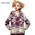 Elf SACO pequeño pintura invierno moda femenina floja wadded chaqueta de impresión de la vendimia con una capucha de algodón acolchado chaqueta gruesa prendas de vestir exteriores