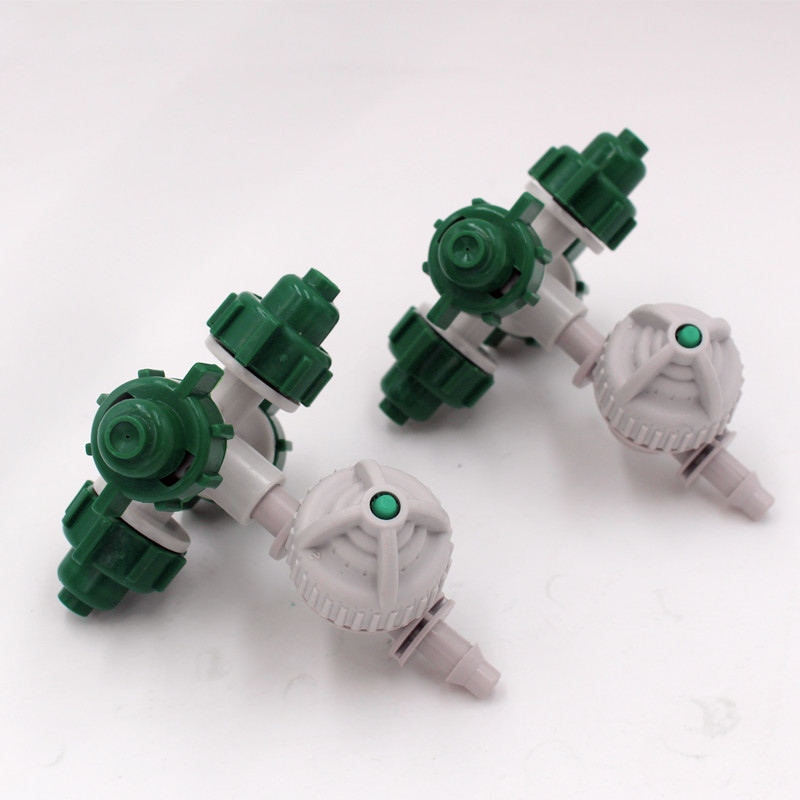 20pcs/pack 4Nozzles Fogger Misting Sprinkler With White Antidrip Connector For Greenhouse Micro Irrigation Drip Watering M188