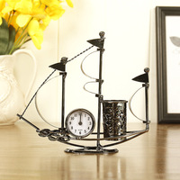 1 pcs Creative Sailboat Shape Metal Pen Holders With Clock Office Home School Decoration