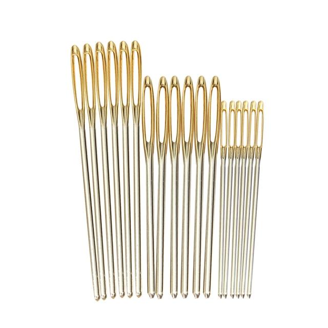 18 ピース/セット 7/6/5。2 センチメートル 3 サイズ大革ハンドミシン針ゴールド鉤針刺繍タペストリーホームウール diy ミシン針
