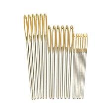 18 sztuk/zestaw 7/6/5.2cm 3 rozmiary duże skórzane igły do naszycia złota oko igły haft gobelin domu wełny DIY igły do szycia