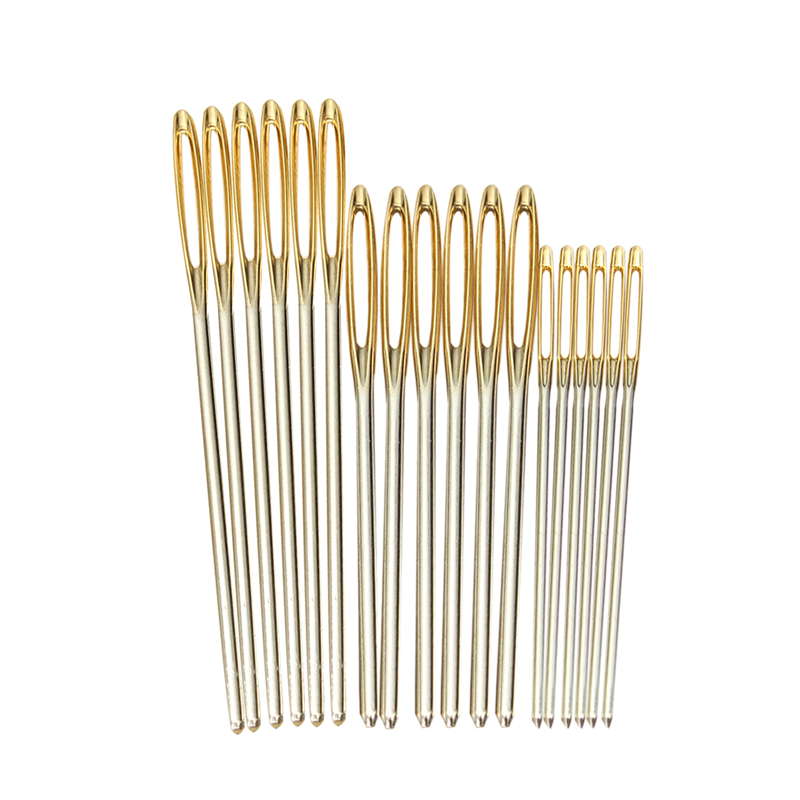 18pcs/Set 7/6/5.2cm 3 Sizes Large Leather Hand Sewing Needles Gold Eye Needle Embroidery Tapestry Home Wool DIY Sewing Needles
