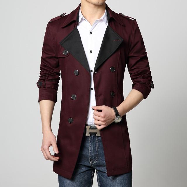 Escudo de Foso del Mens del algodón de abrigo nuevo 2017 de color caqui rojo azul negro grande tamaño 6XL plus 4x 5xl manera de la venta caliente slim fit outwear masculina