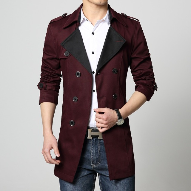 Mens Trench coat cotton overcoat new 2016 red khaki blue black big size 6XL plus 4x 5xl hot sale fashion slim fit male outwear