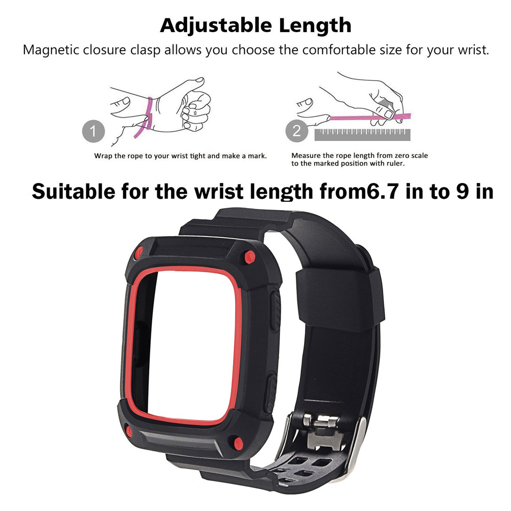 2in1 Fashion Casual Sport Replacement Watchband Bracelet Soft Silicone Sport Strap with Frame case For Fitbit Versa Lite band in Smart Accessories from Consumer Electronics