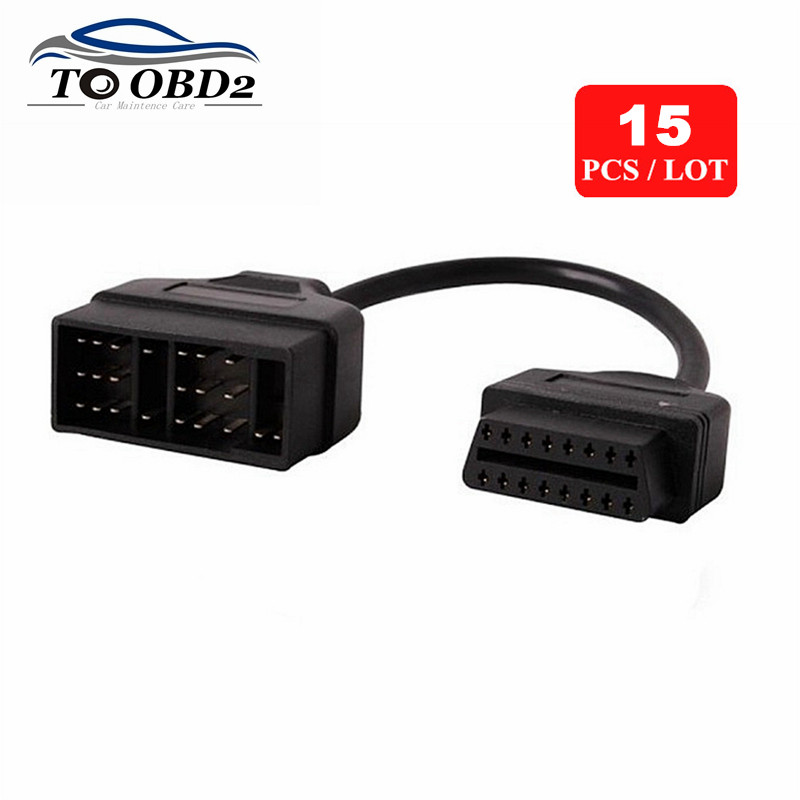15pcs/Lot Express Shipping For <font><b>Toyota</b></font> 22 Pin to OBD2 16 Pin Car Diagnostic Adapter For <font><b>Toyota</b></font> <font><b>22Pin</b></font> OBD OBD2 Connector image