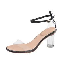 Shoes Sandals Fashion Plastic Women Transparent Sandals Ankle High Heels Block P