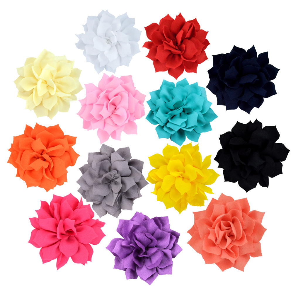 Yundfly 10PCS Fashion Baby Girls Hair Accessories DIY Chiffon Handmade Lotus Flower