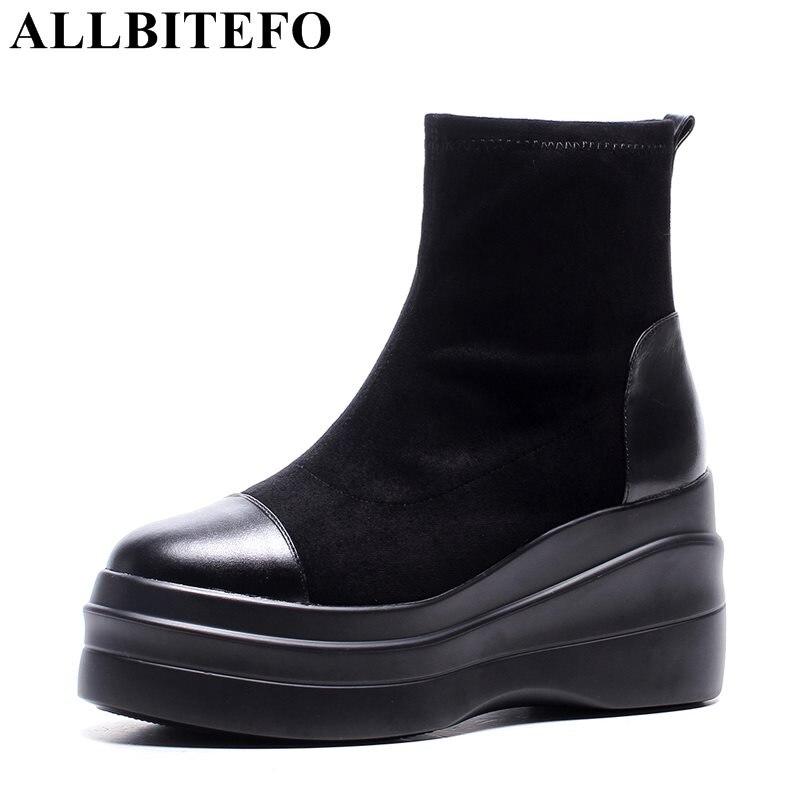ALLBITEFO genuine leather flock high heels platform women boots wedges heel winter boots fashion short ankle