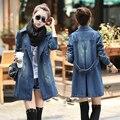 Plus Size 2016 Nueva Moda Denim Trench Coat Casual Vaqueros Solo Pecho Trinchera prendas de Vestir Exteriores Capa de Las Mujeres
