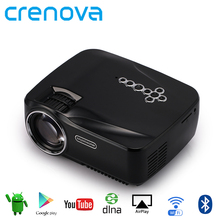 Crenova Android WiFi Bluetooth Projector Support Full HD 1080P Multimedia Mini Portable LED Projector For Home Movie Video Game