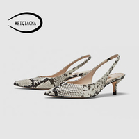 WEIQIAONA 2019 New Spring Women Shoes Pumps High Heels Shoes Elegant Mid Heeled Sexy Pointed Toe Slingbacks Wedding Party Shoes