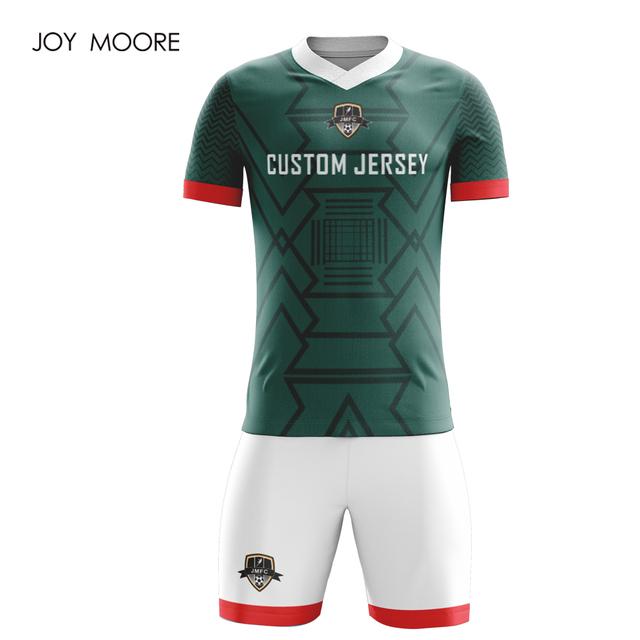 DIY Sportswear Adult  Football Set Custom Soccer Jerseys green and white color
