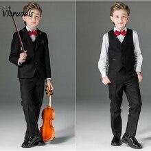 Черные свадебные костюмы для мальчиков, детский смокинг, костюм для шафера, комплект из 3 предметов