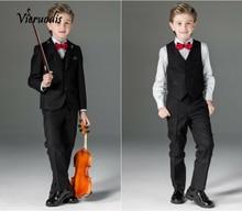 Black Boys Wedding Suits For Kids Performance Childrens Tuxedo Best Man 3 piece set
