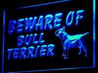 I836 Остерегайтесь Бультерьера декоративная собачка Декор неоновый свет знак включения/выключения 20 + цвета 5 размеров