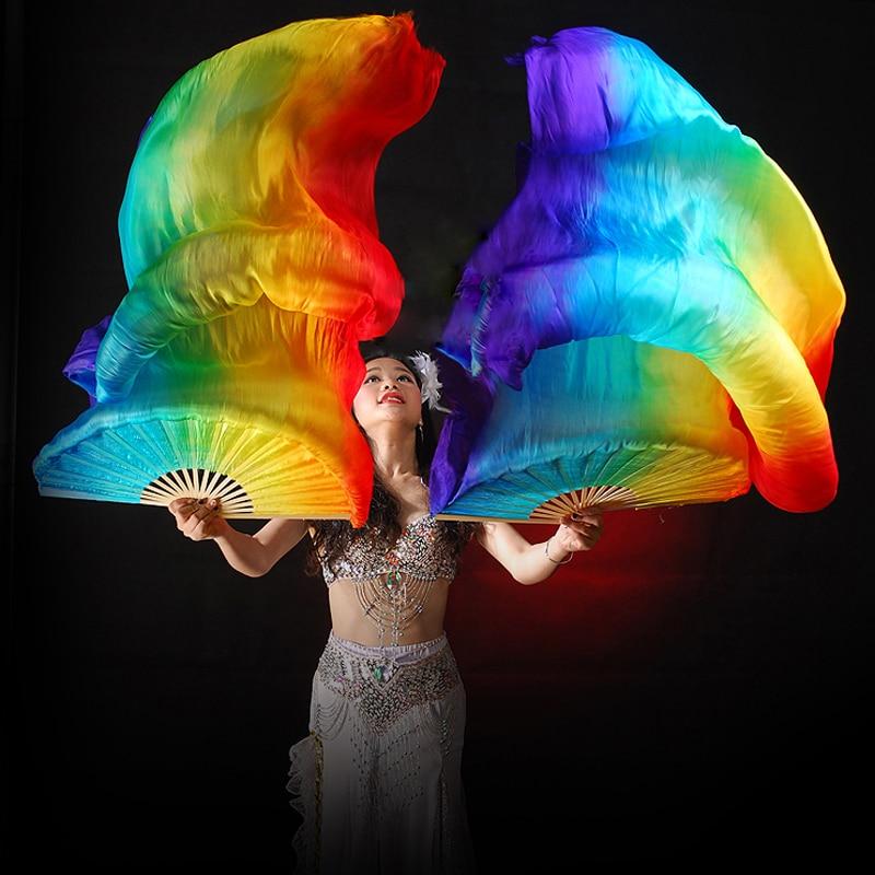 100% Silk Stage Performance Props 1 Pair Dance Silk Fans 180cm Long Silk Veils Rainbow Belly Dance Veils Fans